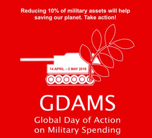 Kansainvälisen sotilasmenojen vastaisen kampanjan logo vuodelta 2018