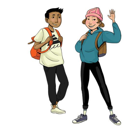 Rauhankoulun piirretyssä kuvituskuvassa kaksi lasta seisoo ja hymyilee katsojaan päin. Oikeanpuoleinen on kohottanut kätensä tervehdykseen.