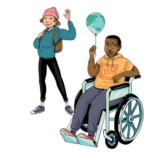 Rauhankoulun piirroskuvassa on kaksi lasta. Toinen seisoo taaempana ja vilkuttaa. Edempänä oleva istuu pyörätuolissa ja pitelee maapalloa esittävää ilmapalloa