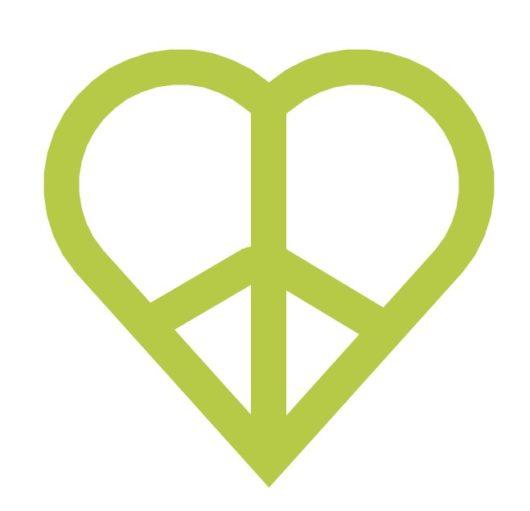 Vihreä rauhanmerkki-sydän