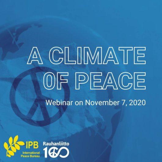 A Climate of Peace. Webinar on November 7, 2020.