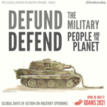 Teksti: Defund the military, defend people and planet. Kuvassa tankki, josta osa on sulanut.