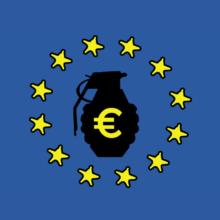 EU:n loppu, jossa keskellä musta kranaatti ja euron symboli.
