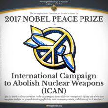 ICAN-verkoston saamasta Nobelin rauhanpalkinnosta kertova kyltti