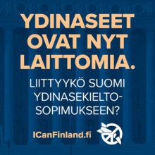 Ydinaseet ovat nyt laittomia. Liittyykö Suomi ydinasekieltosopimukseen? Icanfinland.fi. Sinisellä taustalla eduskuntatalon pylväät.