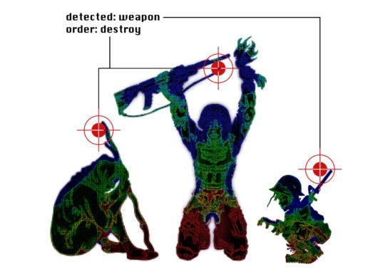 Piirrettyjä ihmishahmoja robotin tähtäimessä