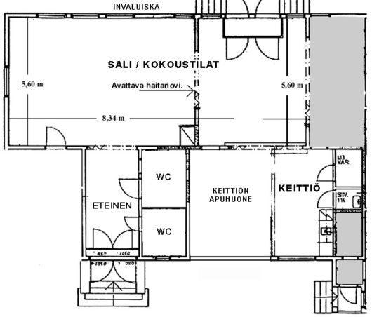 Rauhanaseman keskikerrokseen kuuluu juhlasali, keittiö, eteinen ja wc-tilat.