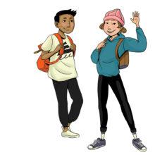 Rauhankoulun piirretyssä kuvituskuvassa kaksi lasta seisoo ja hymyilee katsojaan päin.