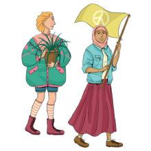 Rauhankoulun piirroskuvassa on kaksi nuorta. Toinen pitelee ruukkukasvia ja toinen rauhanmerkkilippua.