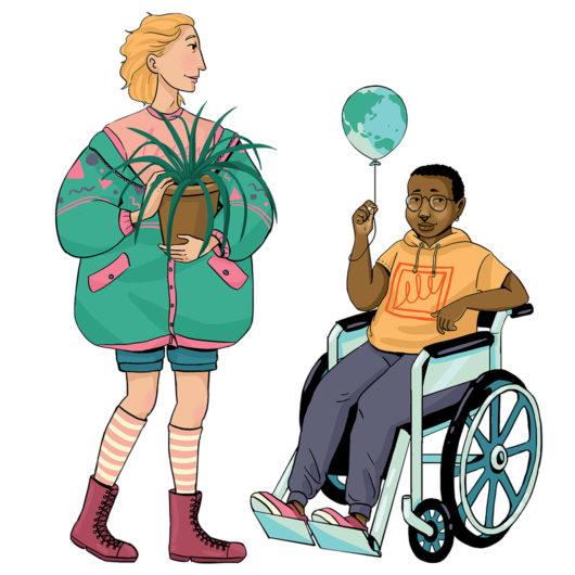 Rauhankoulun piirroskuvassa vihreään pusakkaan pukeutunut nuori pitelee käsissään ruukkukasvia ja keltaiseen lyhythihaiseen huppariin pukeutunut lapsi istuu pyörätuolissa pidelleen ilmapalloa