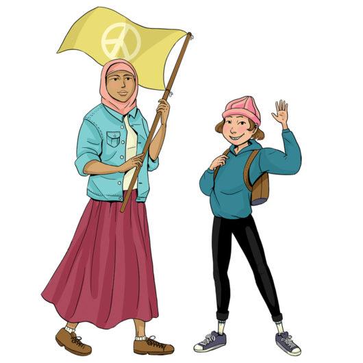 Piirroskuvassa kaksi värikkäisiin vaatteisiin pukeutunutta lasta katsoo kameraan. Huivipäinen tyttö pitelee rauhanmerkkilippua ja pienempi lapsi heiluttaa kättään.