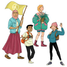 Rauhankoulun piirroskuvassa on neljä iloista lasta ja nuorta