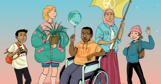 Piirroskuvassa värikkäästi pukeutuneita lapsia ja nuoria.
