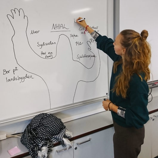 Rauhankoulun ohjaaja piirtää hahmon taululle.