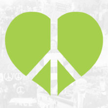 Vihreä sydänrauhanmerkki, jonka taustalla kuvia Rauhanliiton toiminnasta.