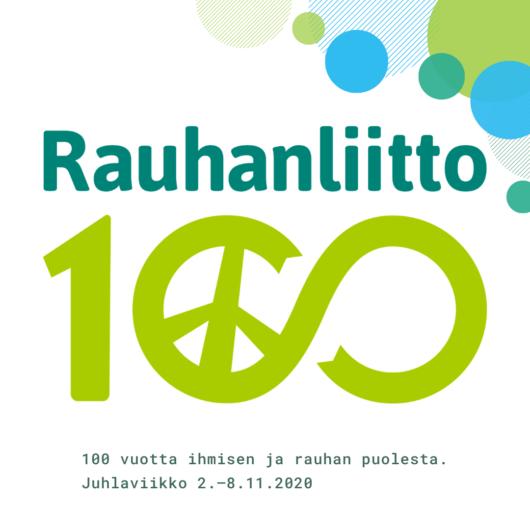 Rauhanliitto 100 vuotta - Juhlaviikon logo.