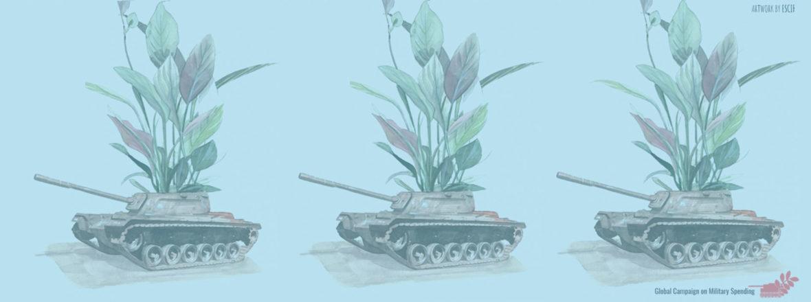 Sinisävyinen piirroskuva panssarivaunuista joista kasvaa kukkia.