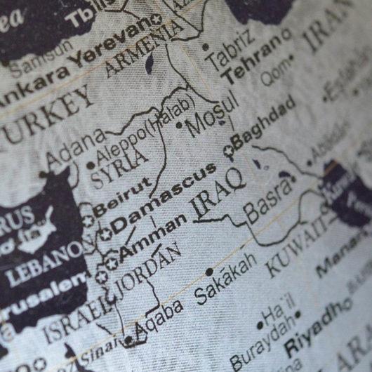 Lähi-idän kartta Syyria ja Irak
